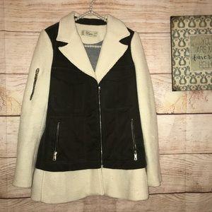 Zara Trafaluc Women's XS winter pea coat cream
